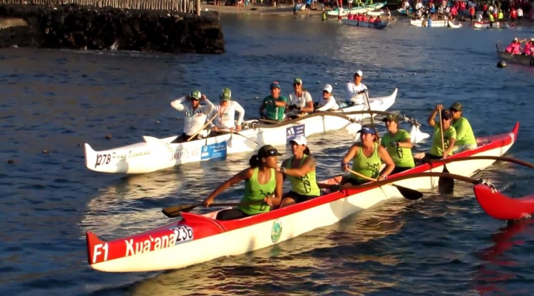 Queen-Liliuokalani-Long-Distance-Canoe-Race-2016-Crews-Departing-Kamakahonu-Beach